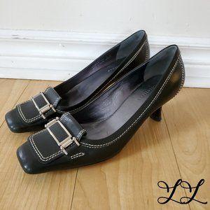 Cole Haan Leather Heels Kitten Black White Buckle